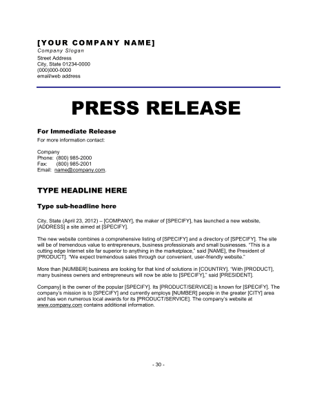 Perfect Press Release Template 11