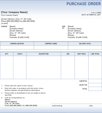 5 Purchase Order Templates - Excel PDF Formats