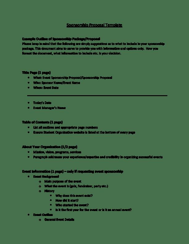 6 Sponsorship Proposal Templates Excel PDF Formats – Example of a Sponsorship Proposal