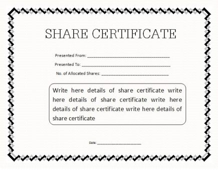 ShareStock Certificate Template 5412