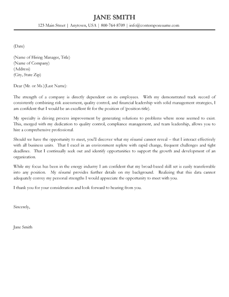 business management cover letter