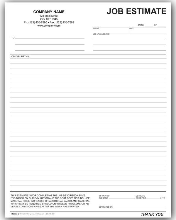 job estimates templates