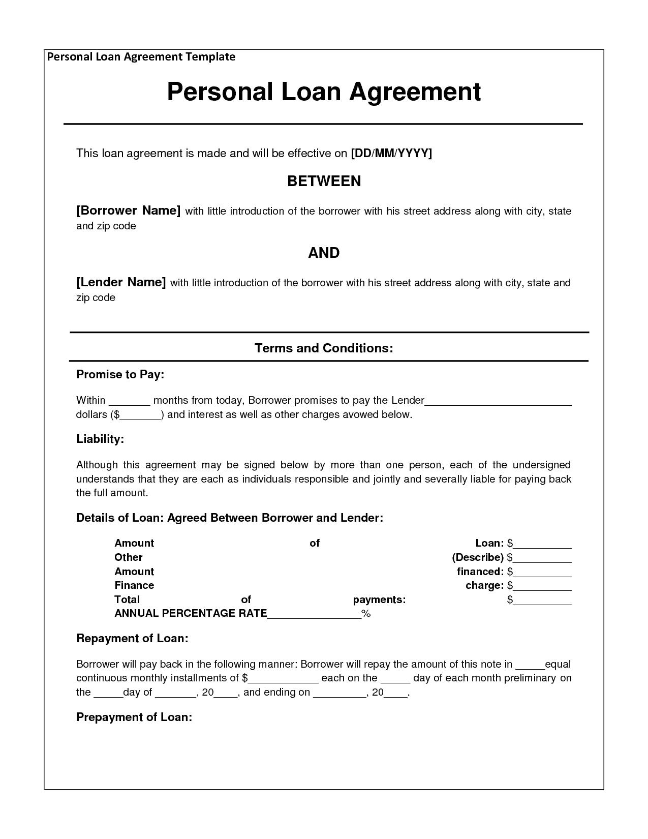 Loan Agreement Template 1441  Loan Agreement Draft