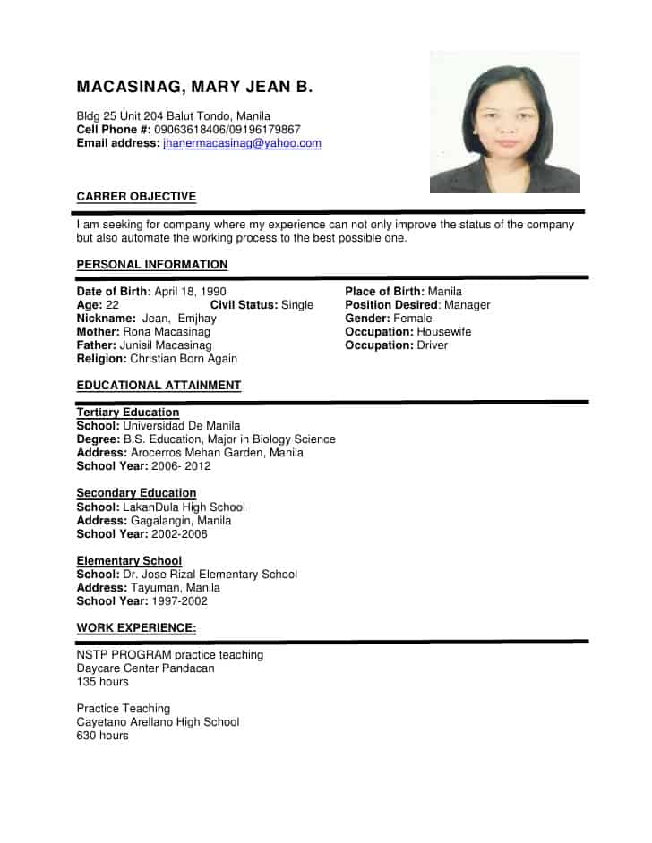 Sample Format For Resume Free Resume Examples By Industry Job