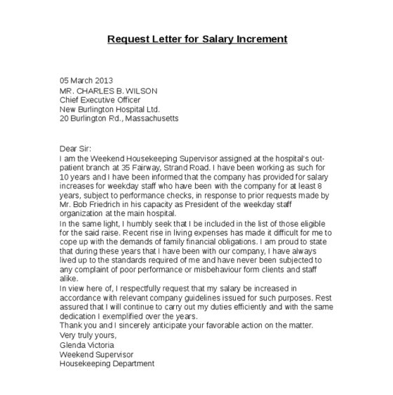 Letter Format Salary Increment. REquest Letter For Salary Increase 8 Templates  Excel PDF Formats