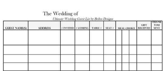 wedding gust list template 98798