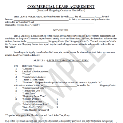 Doc740979 Sample Commercial Rental Agreement doc free lease – Sample Commercial Lease Agreement