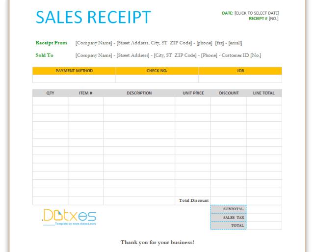 Sales Receipt template 12