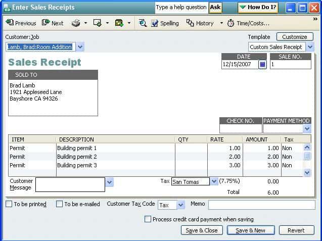 Sales Receipt template 874