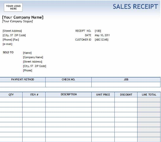 sale receipt template free
