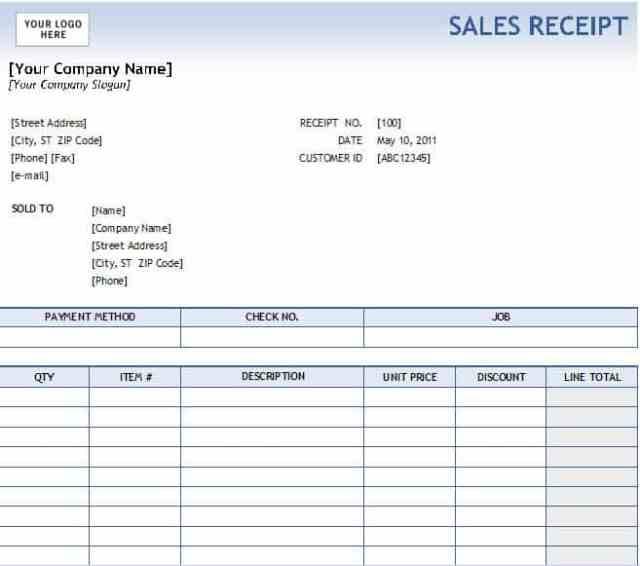Sales Receipt template 877