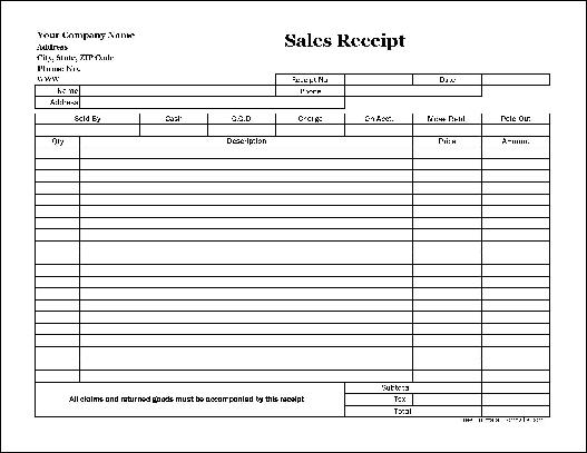 sale receipt forms