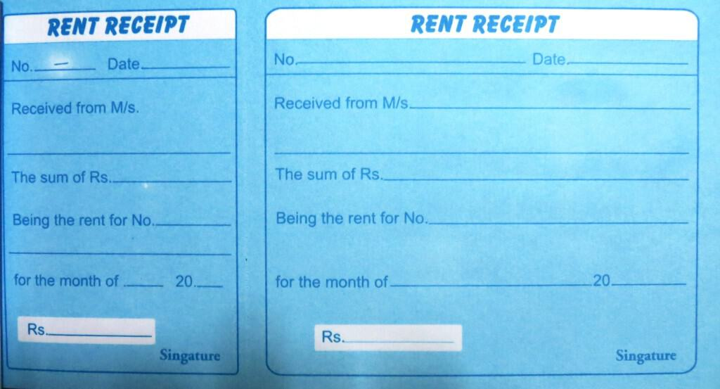 receipt for rent template