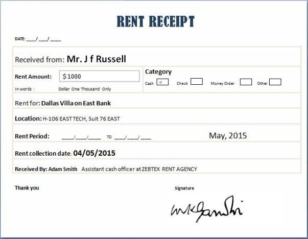 rent receipt template 5646