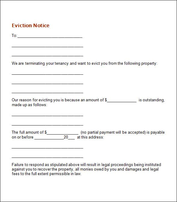 Eviction Notice Template  Eviction Notice Example