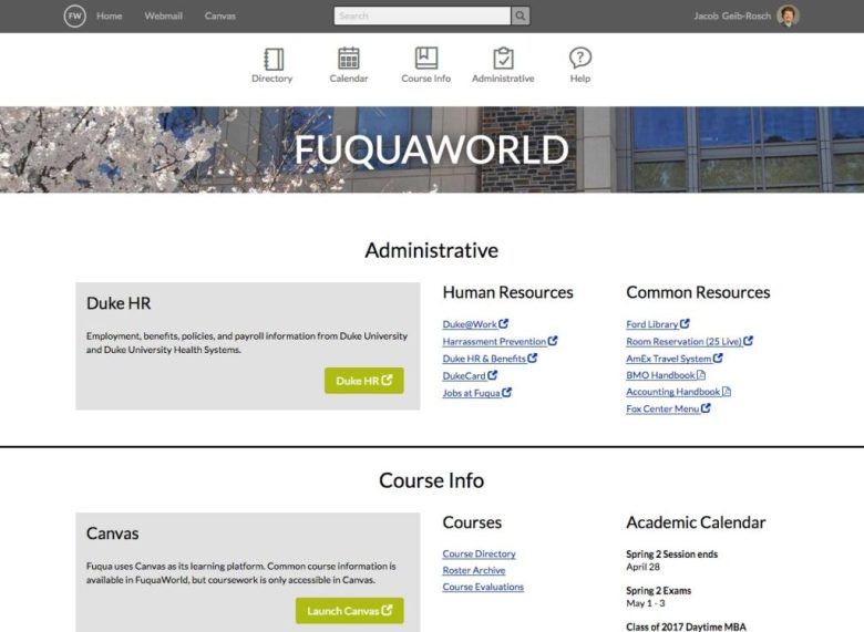 Thumbnail of FuquaWorld intranet portal