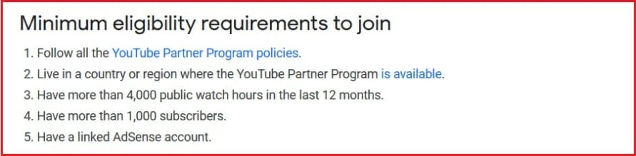 Youtube partner eligibility requirements