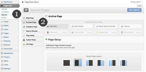 Painel administrativo de framework para economizar tempo na personalização de sites em WordPress (Imagem: Pagelines)