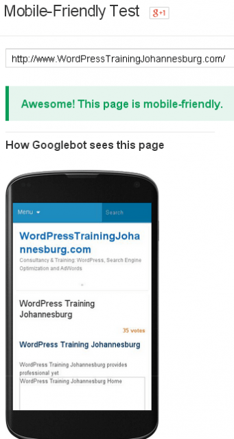 Google's Mobile-Friendly Update-WordPress Training Johannesburg