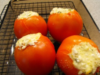 Three Cheese Stuffed Baked Tomatoes