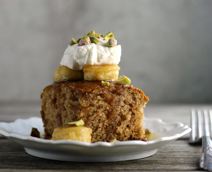 Caramelized Banana Topped Spice Cake