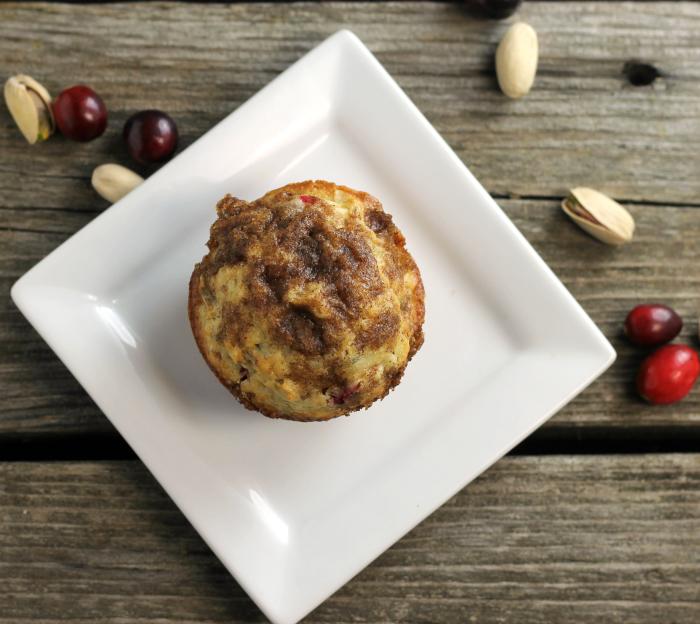 Cranberry Pistachio Oat Muffins