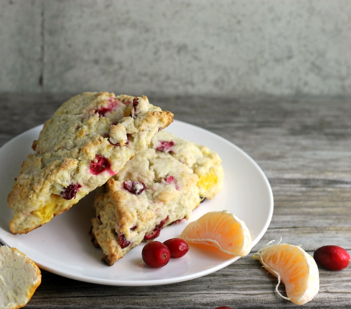 A moist tender cranberry orange cream cheese scone