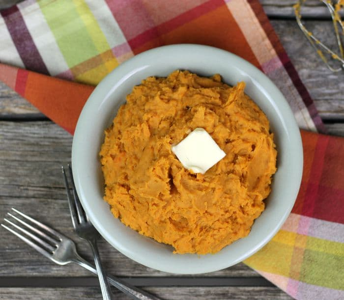 Roasted mashed sweet potatoes along with butter, cream cheese, whipping cream, brown sugar, cinnamon, ginger, and clove come together to make a tasty side dish.