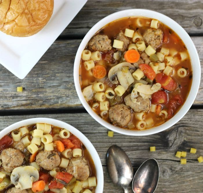 Italian Meatball Soup a hearty soup filled with fun little Italian sausage meatballs, veggies, pasta, and aton of flavor, the perfect comfort food for this time of year.