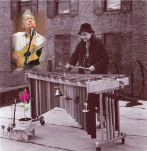 Time Traveling with Sappho cover collage: Jeri Hilderley today (credit: Brenda Sandburg) and on a rooftop with marimba in the 1970's (credit: Eric Lindbloom).