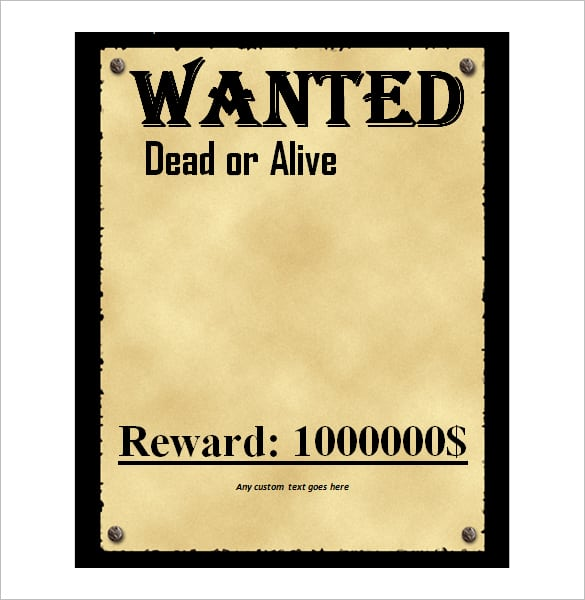 wanted poster template 1
