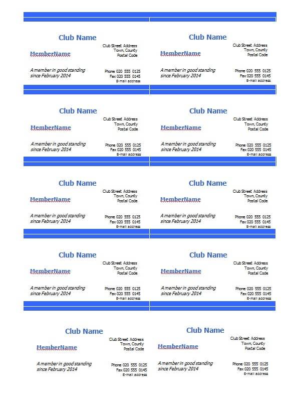 Club membership Card Template - Excel PDF Formats