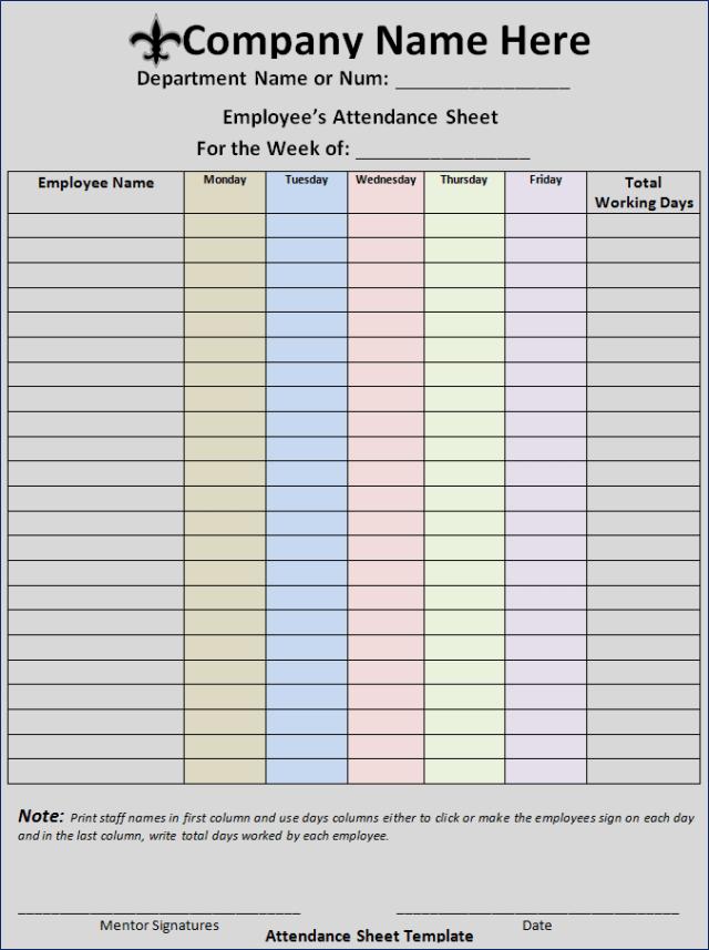 10+ Attendance List Templates   Free Word Templates