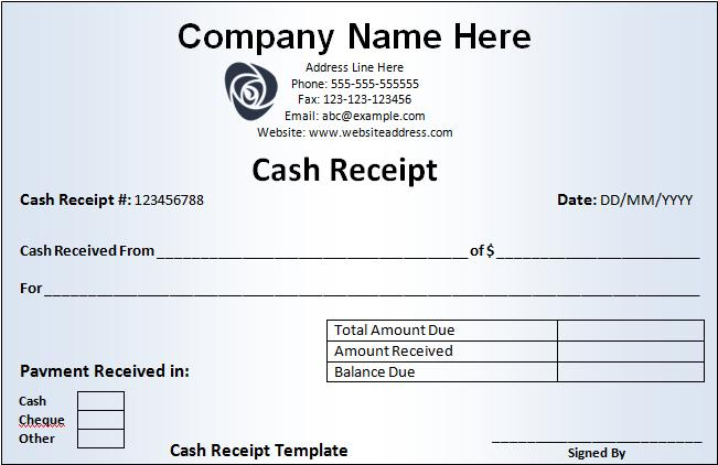 cash receipts samples