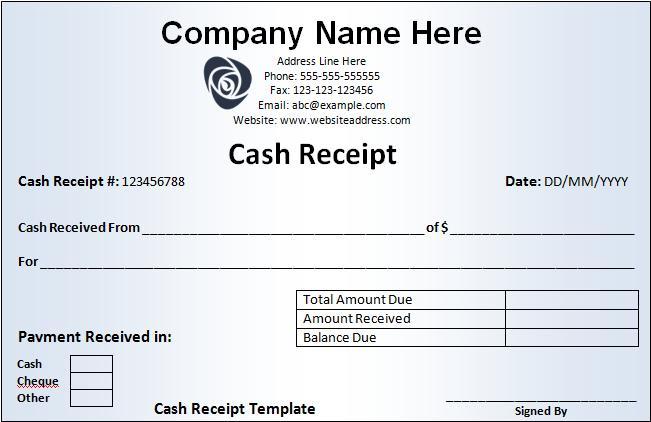 Receipt Format  Paid Receipt Template Word