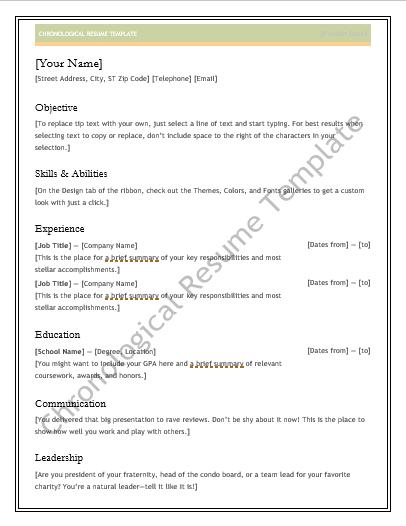 chronological resume template reddit
