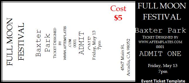 2 event ticket templates free word templates for Numbered event ticket template free
