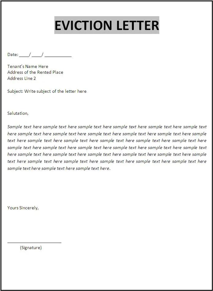 How To Write A Eviction Letter To The Council