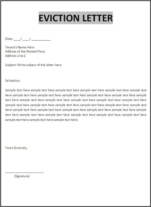Eviction-Letter-Template Sample Eviction Notice Letter Template on template texas, letter template family member, ny 10 day,
