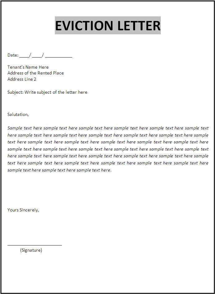 Superb Eviction Letter Template
