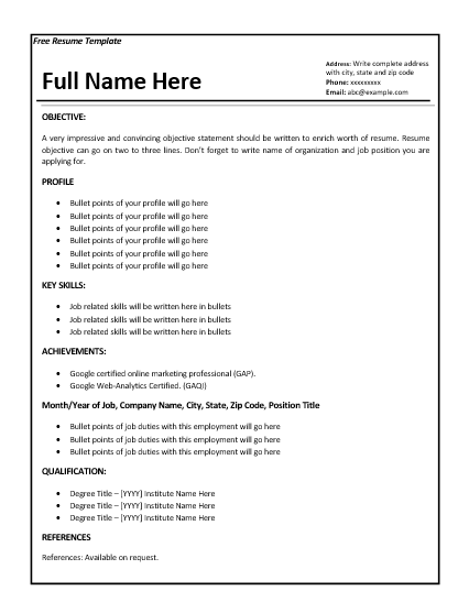 Job Resume Template  Employment Resume Template