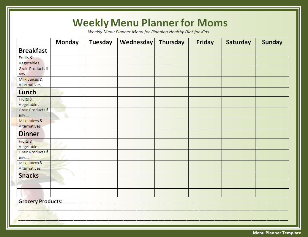 Printable Menu Planner Template