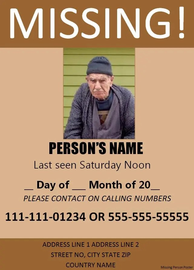 Missing Persons Posters 11 Missing Person Poster Templates  Word Excel & Pdf Templates