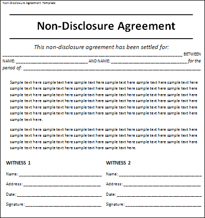 10 Non Disclosure Agreement Templates Free Word Templates