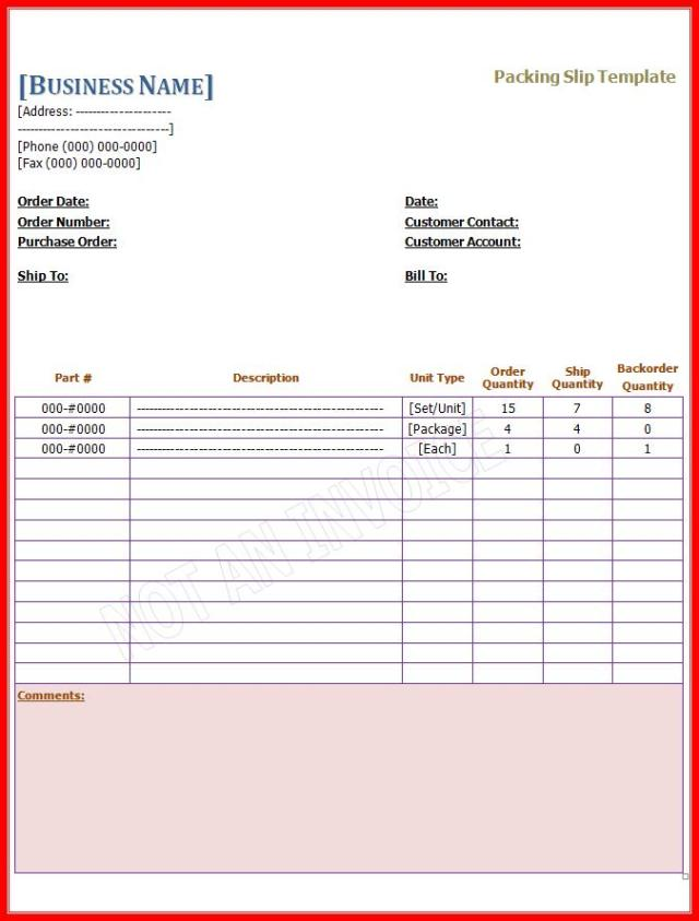 Packing Slip Template – Packing List Format in Word