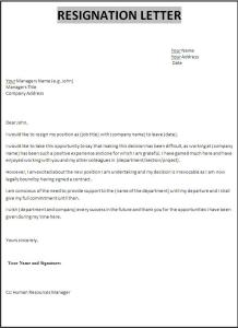 Template for resignation letter singapore