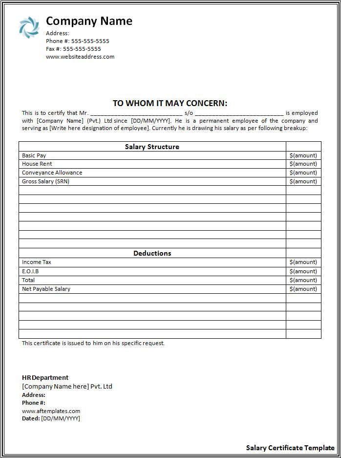 Salary Certificate Format Free Word Templates