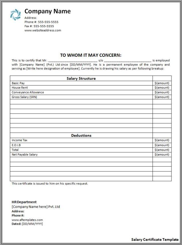 Salary Certificate Format – Rent Certificate Form