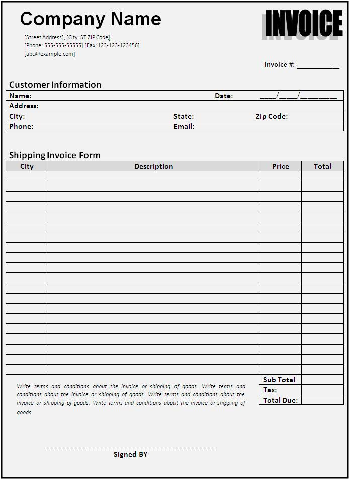 Shipping Invoice Templates  Printable Word  Excel Templates