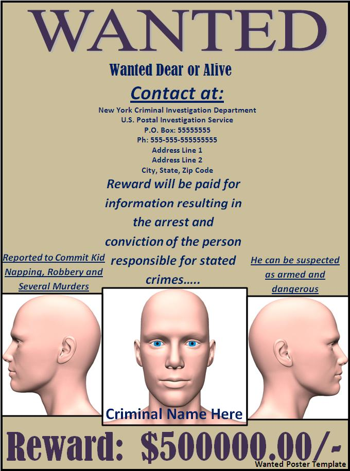 19 Wanted Poster Templates Free Word Templates